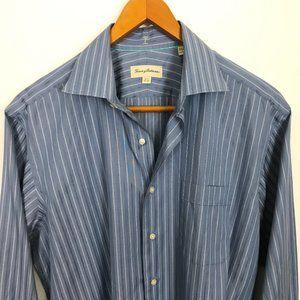 Tommy Bahama Men Striped Blue White 16.5 Shirt